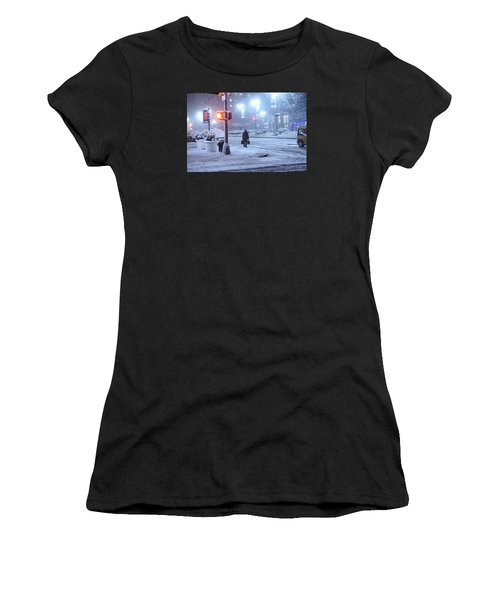 Park Avenue At E45th Near Grand Central In The Winter Storm Late Night New York On Feb 08 2013 Women's T-Shirt (Athletic Fit)