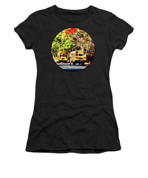 Parked School Buses Women's T-Shirt (Junior Cut) by Susan Savad