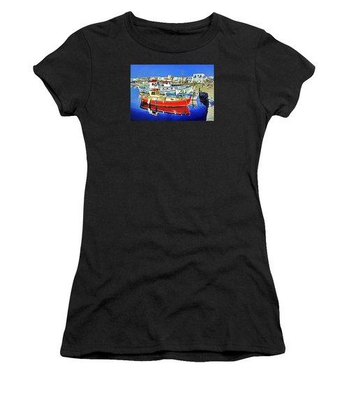 Paros Fishing Boats Women's T-Shirt (Athletic Fit)