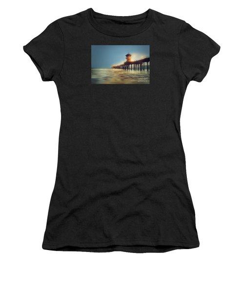 Pastel Evening At Huntington Beach Pier Women's T-Shirt (Athletic Fit)
