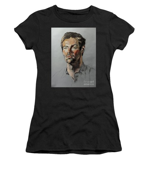 Pastel Portrait Of Handsome Guy Women's T-Shirt