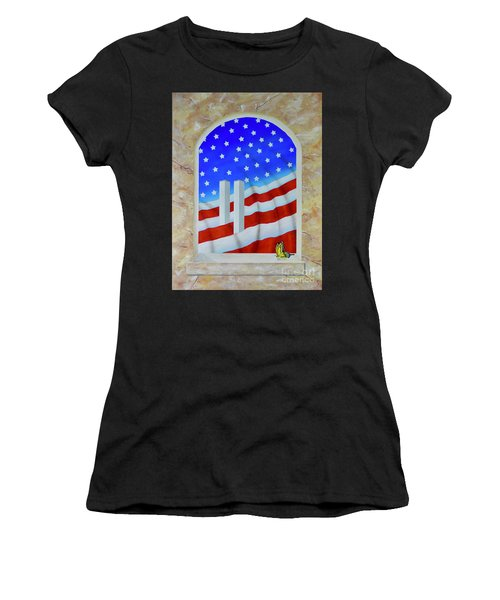 Women's T-Shirt featuring the painting Patriotic View by Mary Scott