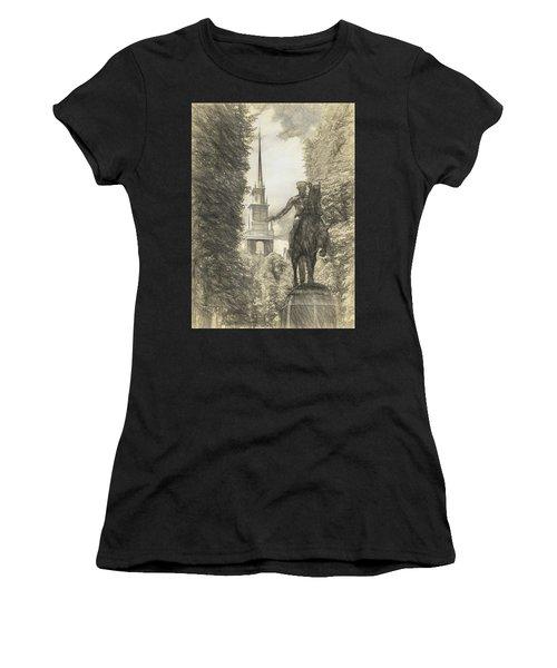Paul Revere Rides Sketch Women's T-Shirt (Athletic Fit)