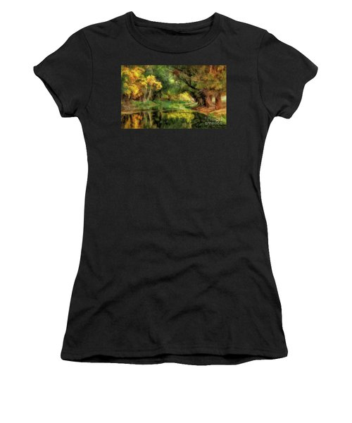 Peaceful Pond In The Trees Women's T-Shirt (Athletic Fit)