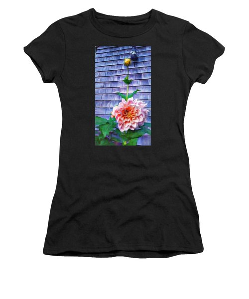 Peach Dahlia In Oil Women's T-Shirt (Athletic Fit)