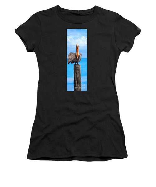 Pelican On Pier Women's T-Shirt (Athletic Fit)
