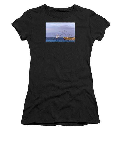 Women's T-Shirt featuring the photograph Pelicans Pelicans by Kate Brown