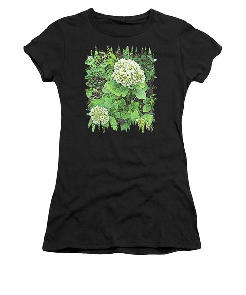 Pencil Sketch Hydrangea With Jagged Edges Women's T-Shirt