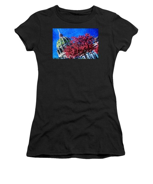 Women's T-Shirt (Junior Cut) featuring the photograph Pennsylvania State Capitol Dome In Bloom by Shelley Neff