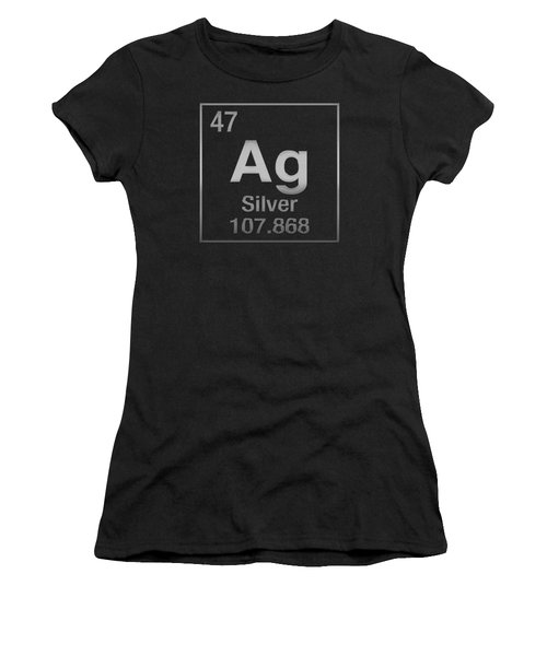 Periodic Table Of Elements - Silver - Ag - Silver On Black Women's T-Shirt (Athletic Fit)