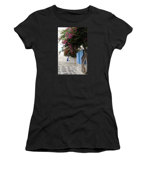 Women's T-Shirt (Junior Cut) featuring the photograph Perspective Blue Door by Haleh Mahbod