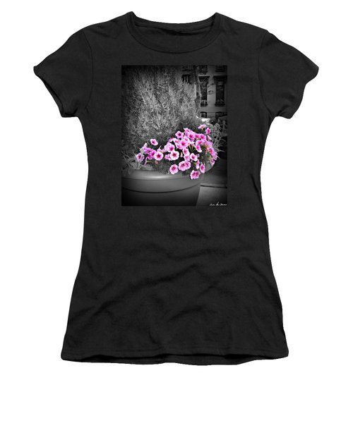Women's T-Shirt (Athletic Fit) featuring the photograph Petunias In Brooklyn Circa 2006 by Iowan Stone-Flowers