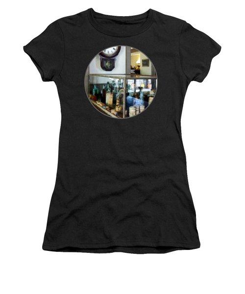 Women's T-Shirt (Junior Cut) featuring the photograph Pharmacist - Corner Drug Store by Susan Savad