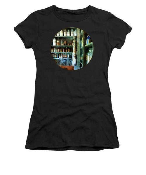 Women's T-Shirt (Junior Cut) featuring the photograph Pharmacy - Back Room Of Drug Store by Susan Savad