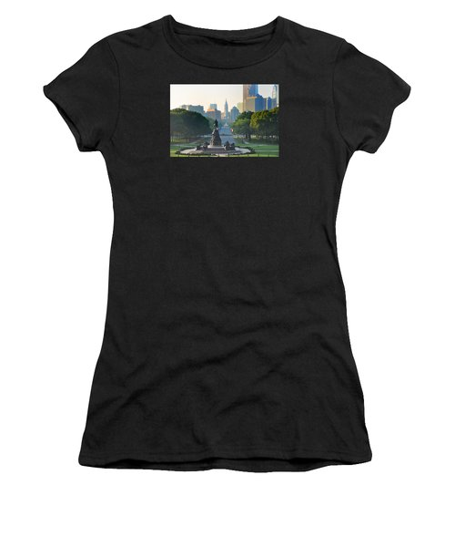 Women's T-Shirt featuring the photograph Philadelphia Benjamin Franklin Parkway by Bill Cannon