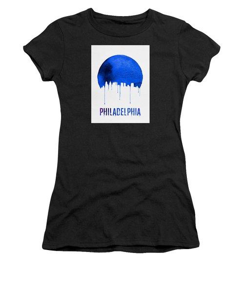 Philadelphia Skyline Blue Women's T-Shirt (Athletic Fit)