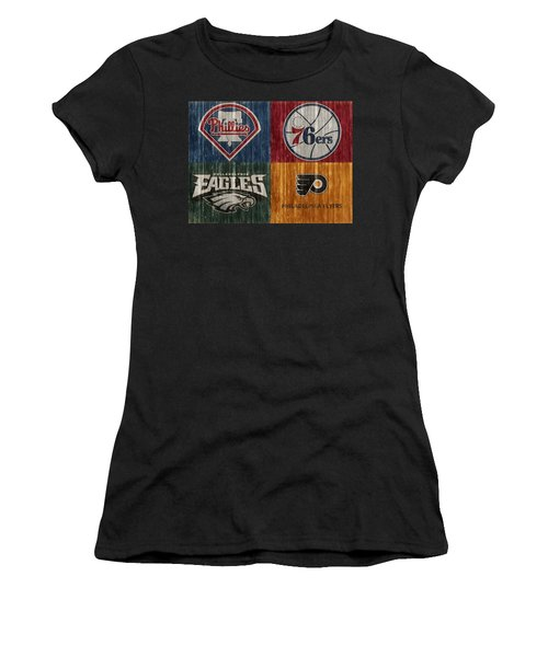 Women's T-Shirt featuring the mixed media Philadelphia Sports Teams by Dan Sproul