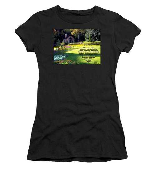 Women's T-Shirt featuring the photograph Philippians 4-8 The  Cottage House by Cynthia Amaral