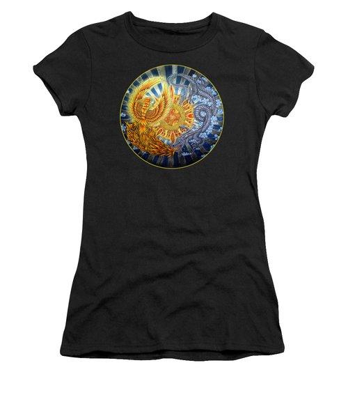 Phoenix And Dragon Women's T-Shirt (Junior Cut) by Rebecca Wang