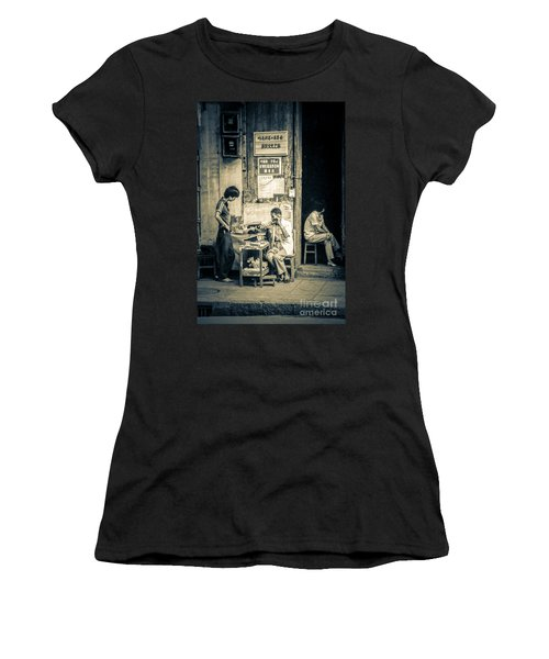 Women's T-Shirt (Junior Cut) featuring the photograph Phonecall On Chinese Street by Heiko Koehrer-Wagner