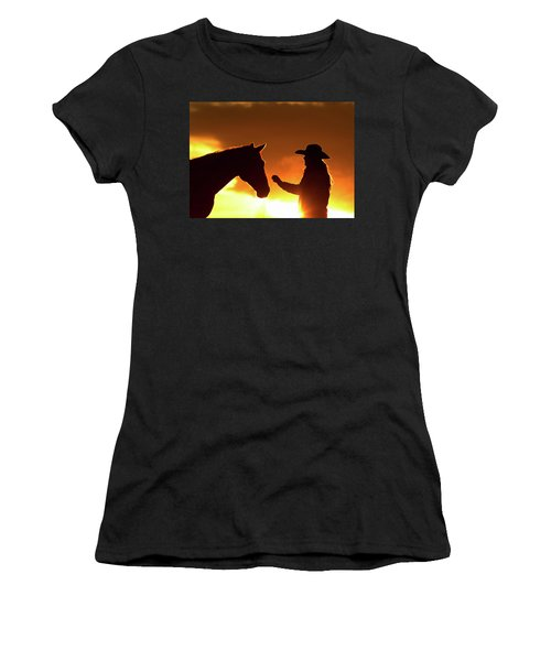 Cowgirl Sunset Sihouette Women's T-Shirt (Athletic Fit)