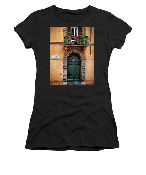 Women's T-Shirt (Junior Cut) featuring the photograph Piazza Navona House by Marion McCristall