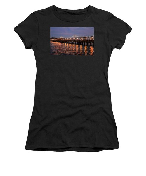 Pier 7 And Bay Bridge Lights At Sunset Women's T-Shirt
