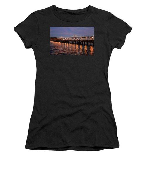 Pier 7 And Bay Bridge Lights At Sunset Women's T-Shirt