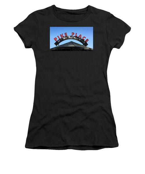 Women's T-Shirt featuring the photograph Pike Street Market Sign by Peter Simmons