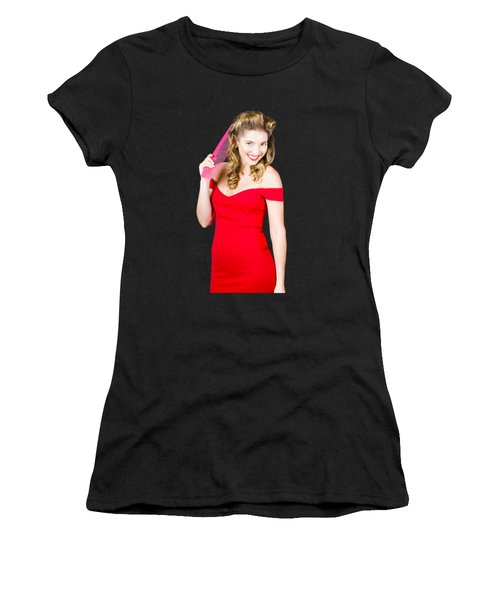 Pin-up Styled Fashion Model With Classic Hairstyle Women's T-Shirt