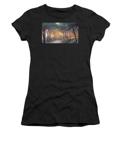 Pine Forest At Sunset Women's T-Shirt