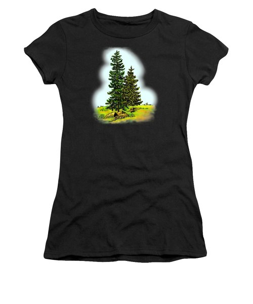 Pine Tree Nature Watercolor Ink Image 2         Women's T-Shirt