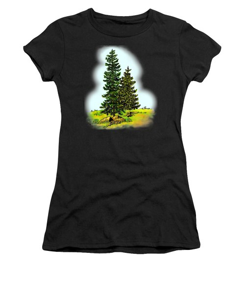 Pine Tree Nature Watercolor Ink Image 2         Women's T-Shirt (Athletic Fit)