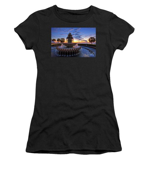 The Pineapple Fountain At Sunrise In Charleston, South Carolina, Usa Women's T-Shirt (Junior Cut) by Sam Antonio Photography