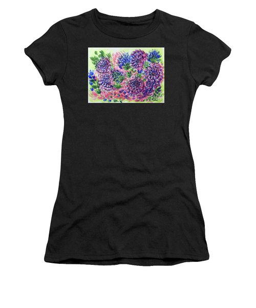 Pink And Blue Flower Flurry Women's T-Shirt (Athletic Fit)