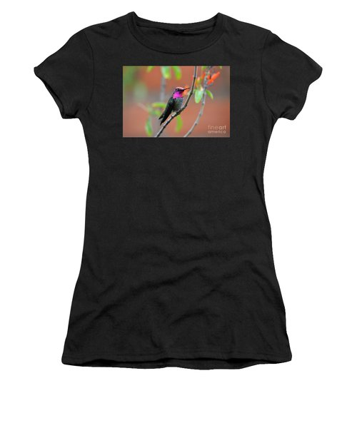 Pink And Gold Anna's Hummingbird Women's T-Shirt (Athletic Fit)