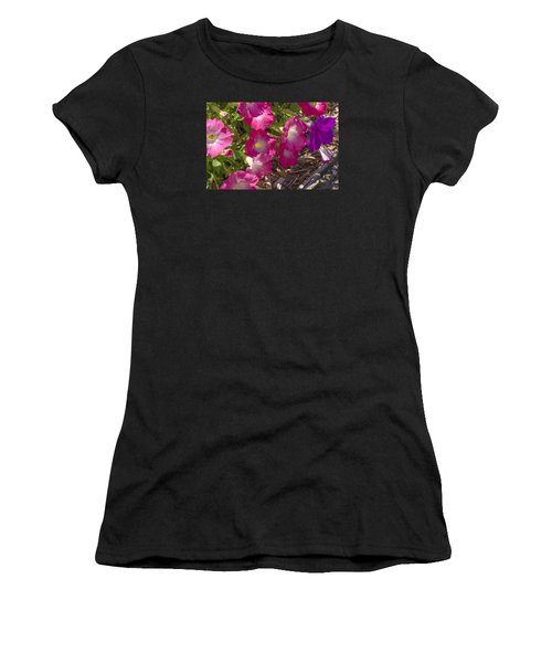 Pink And Purple Petunias Women's T-Shirt (Athletic Fit)