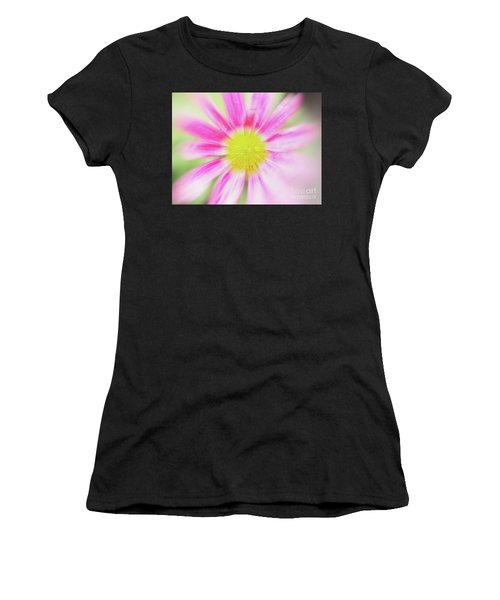 Women's T-Shirt featuring the photograph Pink Aster Flower With Raindrops Abstract by Nick Biemans