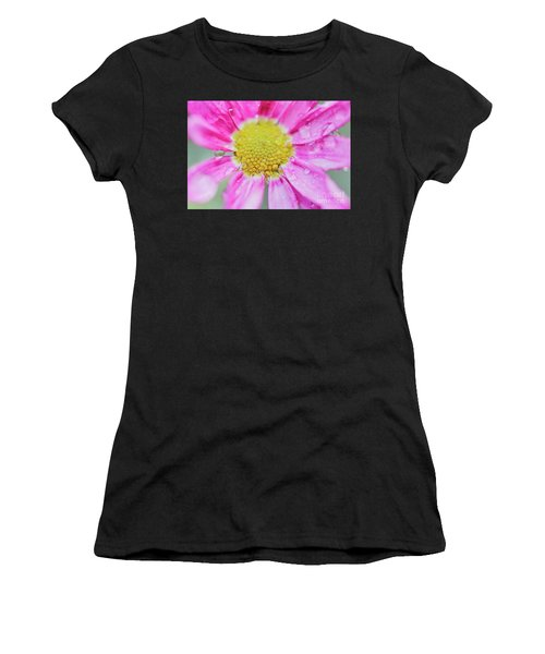 Women's T-Shirt featuring the photograph Pink Aster Flower With Raindrops by Nick Biemans