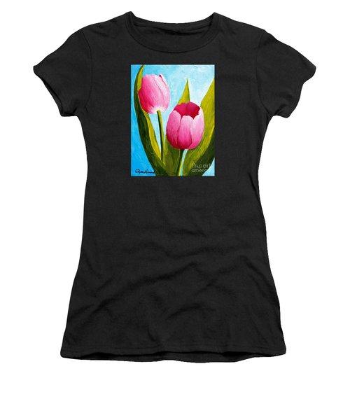Pink Bubblegum Tulip II Women's T-Shirt (Athletic Fit)