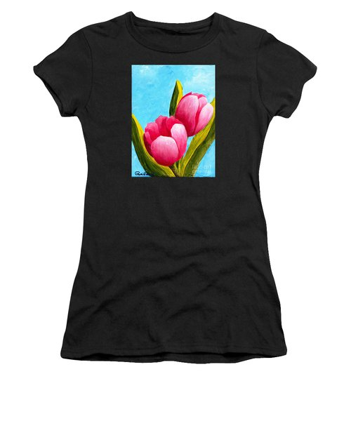 Pink Bubblegum Tulips I Women's T-Shirt (Athletic Fit)