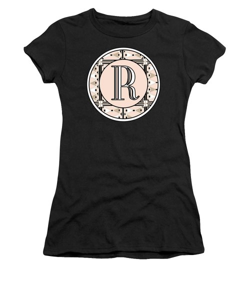 Pink Champagne Deco Monogram  R Women's T-Shirt