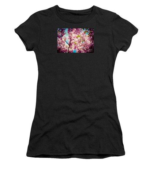 Pink Cherry Blossoms Sakura With Bee Women's T-Shirt
