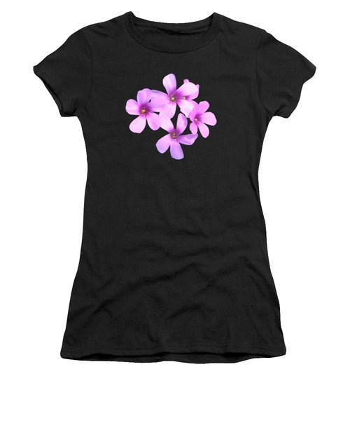 Pink Cutout Flowers Women's T-Shirt (Athletic Fit)