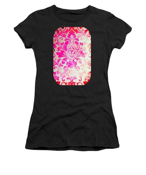 Pink Damask Pattern Women's T-Shirt (Athletic Fit)