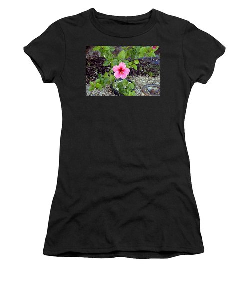 Pink Hibiscus And Wheel Women's T-Shirt (Athletic Fit)