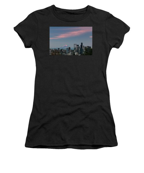 Pink Highlights Over Seattle-mt. Rainier Women's T-Shirt (Athletic Fit)