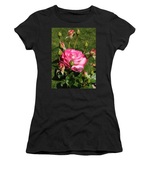 Pink Lady Rose And Her Kids Women's T-Shirt (Junior Cut) by Haleh Mahbod