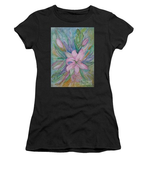 Pink Lily- Painting Women's T-Shirt (Athletic Fit)