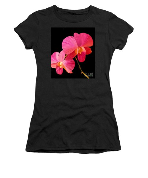 Women's T-Shirt (Junior Cut) featuring the painting Pink Lux by Rand Herron